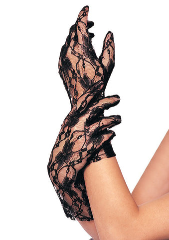 Black Wrist Length Stretch Lace Gloves