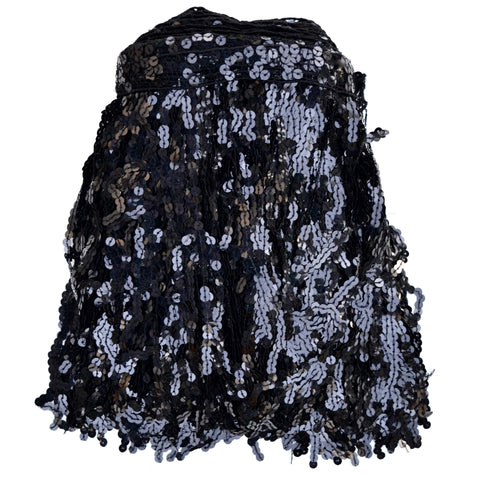 "12"" Black Holographic Sequin Fringe"