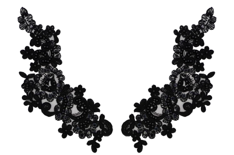 Black Appliqué Pair With Sequins And Beads