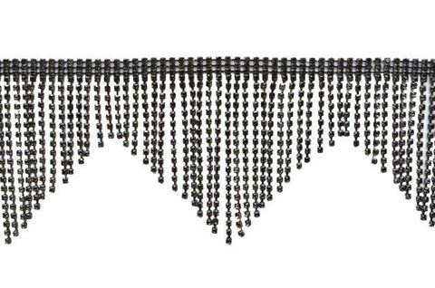 Black Diamond Rhinestone Fringe