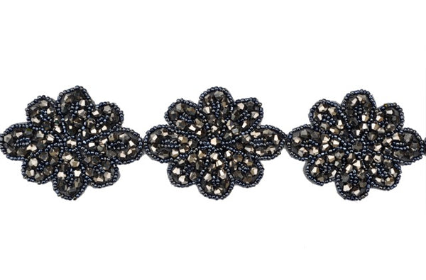 Black Beaded Flower Trim With Jet Hematite Crystal Beads