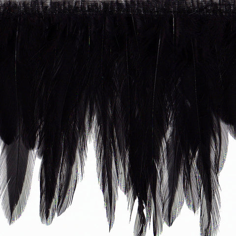 "4"" to 4.5"" Black Hackle Feather Fringe"
