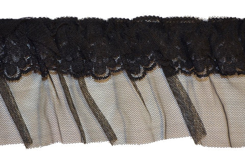 "3"" Stretch Lace & Mesh Trim- Black"