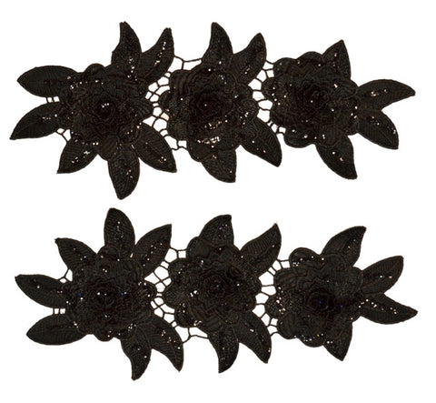 Black Metallic Appliqué Pair with Glitter
