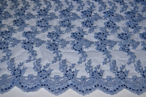 Smokey Blue Beaded And Sequin Corded Bridal Lace - Scalloped Border On Both Edges