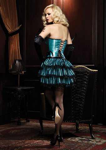 Blue & Black Stripe Satin Bustle Skirt