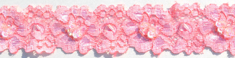"1 1/2"" Stretch Lace w/ Sequins & Beads - Blush"