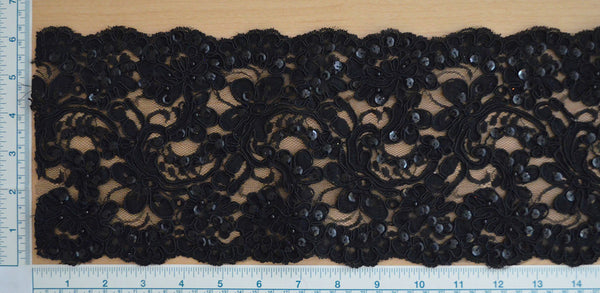"6"" Beaded Bridal Lace - Black"
