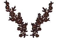 Brown Pair Appliqués With Sequins And Beads