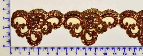 Brown Beaded Lace Trim With Sequins & Beads