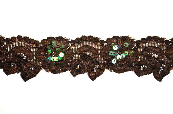 "2"" Stretch Lace w/Sequins - Brown"