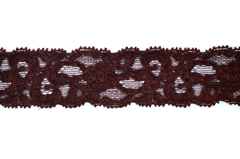 "1 1/4"" Stretch Lace - Brown"