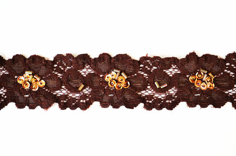 "1 1/2"" Stretch Lace w/ Sequins & Beads - Brown"