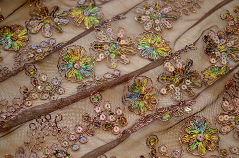 Brown Sequin Lace Print- Border On Both Edges- Closeout