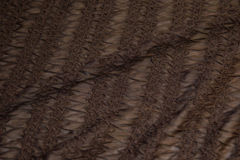 Brown Textured Print on Semi Sheer Poly Spandex- CLOSEOUT