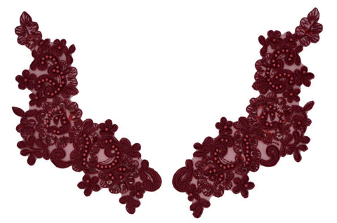 Burgundy Appliqué Pair With Sequins And Beads