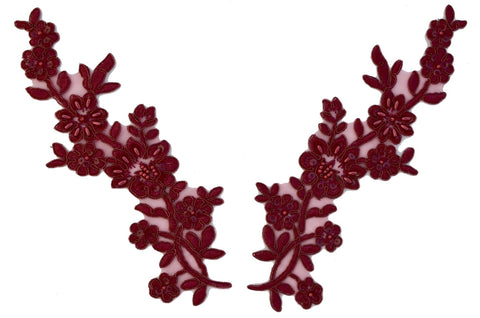 """2/"""" Cut Out Burgundy Maroon Flower bead sequin Patch"""