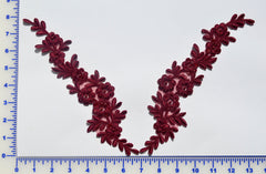 Burgundy Pair Appliqués With Sequins And Beads