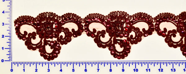 Burgundy Beaded Lace Trim With Sequins & Beads