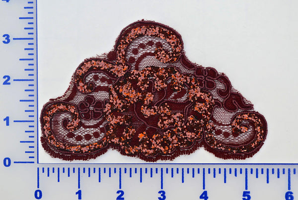 Burgundy Glitter Lace Appliqué