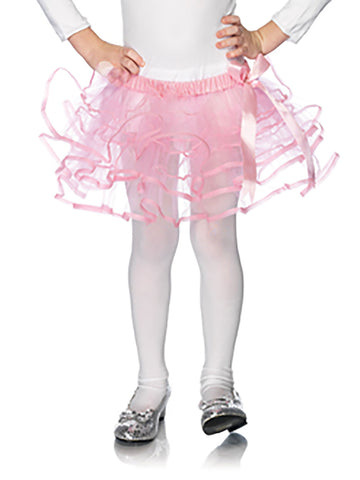 Pink Layered Net Petticoat With Satin Bow And Accents