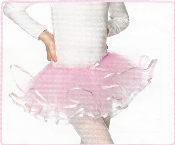 Children's Pink and White Reversible Ribbon Trimmed Tutu