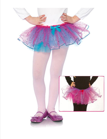 Dual Color Glitter Tulle Tutu With Sequin Trim - 2 Colors Available