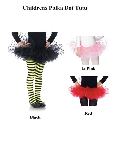 Tulle Tutu With Mesh Flocked Polka Dots - One Size - 3 Colors Available