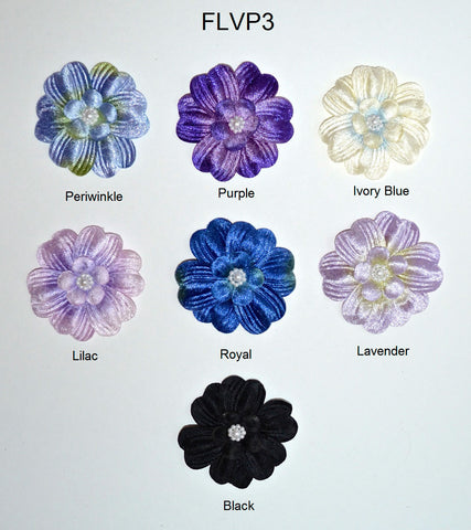 "3"" Velvet Flower With Pearl Bead Center - 7 Colors Available - Individual or 12 Packs"