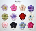 "1 1/2"" Velvet Flower With Acrylic Rhinestone Center - 12 Colors Available - Packs of 12"