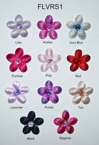 "1"" Velvet Flower With Acrylic Rhinestone Center - 11 Colors Available - Packs of 12"