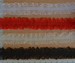 "2 1/2"" Stretch Lace w/ 5/8"" Elastic Center - 4 Colors Available"