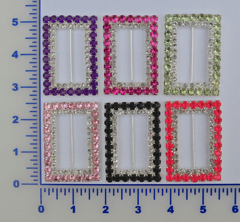 "2 3/8"" X 1 5/8"" Rectangle Rhinestone Buckle - 6 Colors Available"