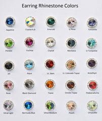 12MM Silver Earrings With A.B. Crystals Around An Austrian Rivoli Crystal - Silver Plated Posts - 26 Colors Available