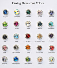 15MM Silver Earrings With Clear Crystals Around An Austrian Rivoli Crystal - Silver Plated Posts - 25 Colors Available