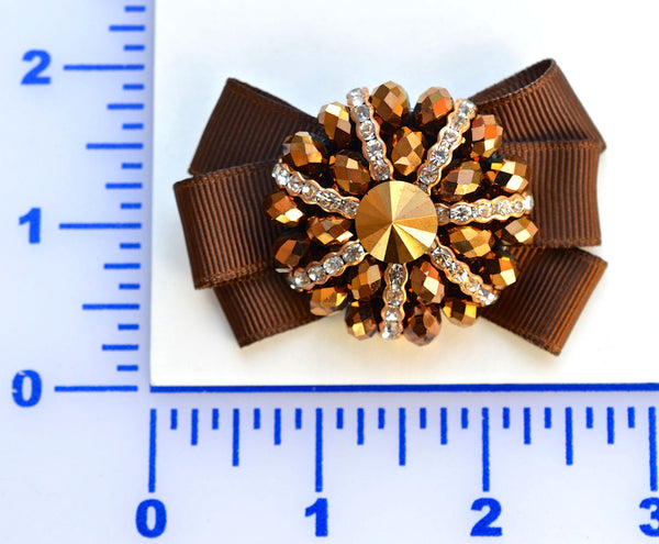 "2 3/4"" x 1 3/4"" Beaded Brown With Grosgrain Bow Brooch - Copper"