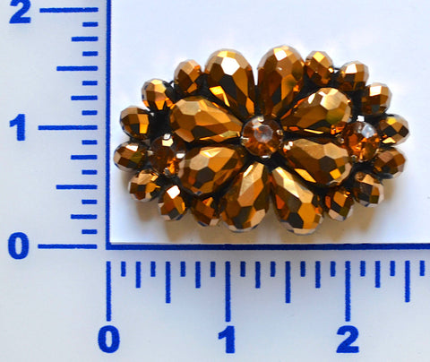 Copper Beaded Flower With 3 Rhinestones
