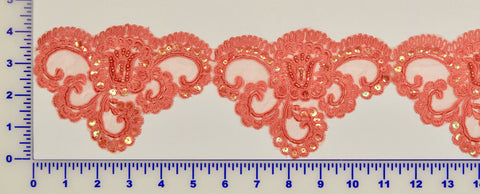 Coral Beaded Lace Trim With Sequins & Beads