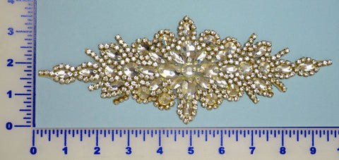 Crystal Gold Rhinestone Appliqué w/ Hot Fix Backing