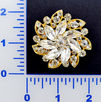 Crystal Gold Rhinestone Brooch