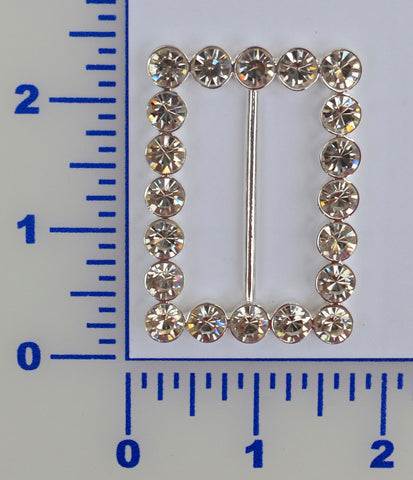 "2"" X 1 5/8"" Rectangle Chunky Rhinestone Buckle"