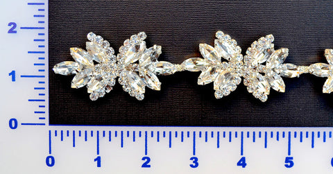 Crystal Rhinestone Trim Set In Metal