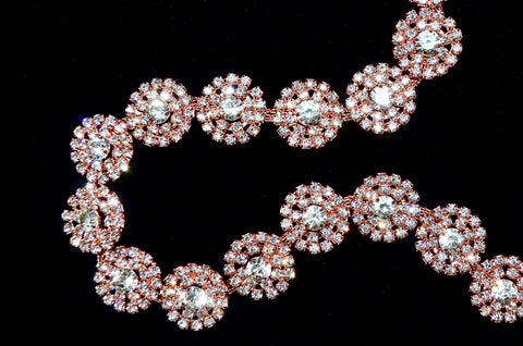 Crystal / Rose Gold Rhinestone Trim