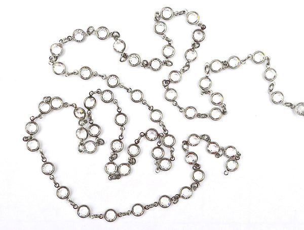 Gun Metal Cuplink Chain w/ Clear Austrian Crystals. Sold By The Foot