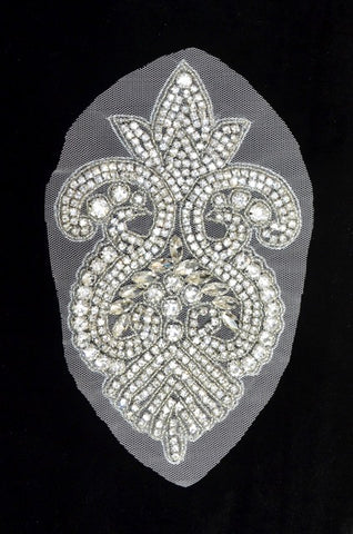 Crystal Rhinestone Appliqué on Mesh