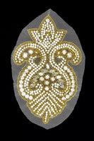 Crystal Gold Rhinestone Appliqué on Mesh