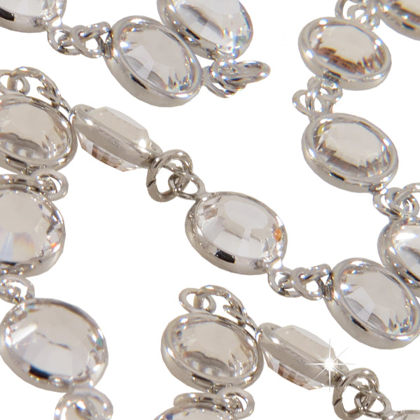 Silver Channel Chain w/ Clear Austrian Crystals. Sold by the Foot.