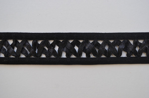 "7/8"" Satin Ribbon Attached To Elastic - Black"