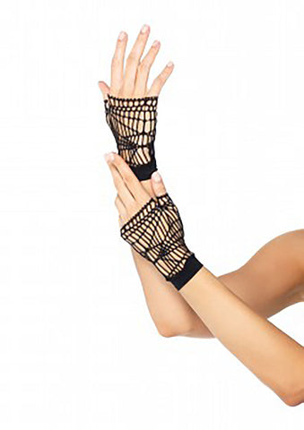 Black Distressed Fingerless Wrist Gloves
