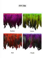 "6"" Dyed Rooster & Black Iridescent Coque Feather Fringe - Available in 4 Colors"